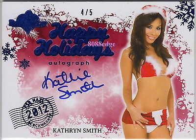 2012 Benchwarmer Holiday Bonus Auto: Kathryn Smith #4/5 Air Mail Blue Autograph