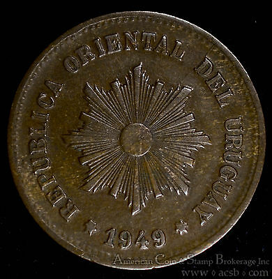 Uruguay 5 Centesimos 1949 So copper KM#21a Republic Santiago Radiant Sun.