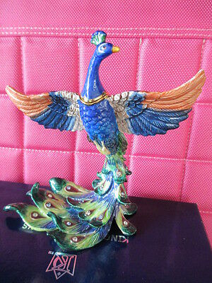 Peacock Stunning Dramatic  Bejeweled &   Enamel Trinket Box And Necklace  #62729