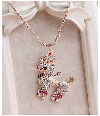 Betsey Johnson Crystal Cute Dog Pendant Sweater Chain Necklace   g02