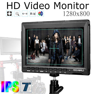 "US Pro Feelworld FW759 7"" Ultra HD IPS 1280x800 Field Monitor HDMI Input F BMPCC"