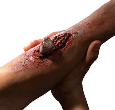 Broken Bone Bloody Wound Dress Up Halloween Costume Makeup Latex Prosthetic