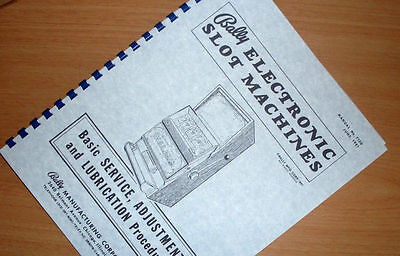 BALLY Electronic SLOT MACHINE Service ADJUSTMENT Lube Owners Service MANUAL 1981