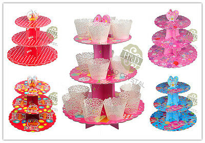 3 Tier Card Paper Round Cupcake Stand Birthday Bar Wedding Party Display Stand