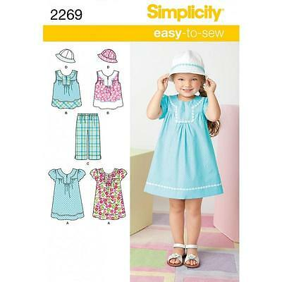 Simplicity Sewing Pattern Child's Dress Or Top Cropped Pants & Hat 3 - 8   2269