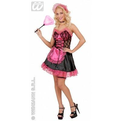 M/L Pink / Black Ladies Womens French Maid Satin Costume Outfit for Saucy erotic