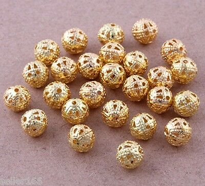 100 Pcs 6mm Gold Plated Spacer Loose Beads~Findings Bracelets necklace charms