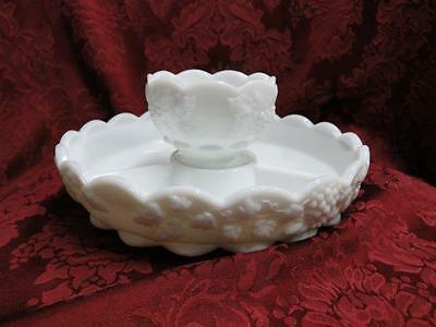 Westmoreland Paneled Grape Milk Glass: Chip & Dip - 3 Part Divided Dish w/ Bowl