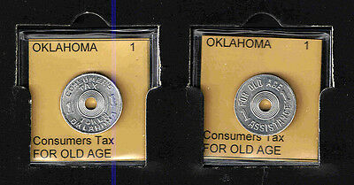 OKLAHOMA 1 Aluminum OLD AGE TAX TOKEN RECEIPT    BRILLIANT UNCIRCULATED
