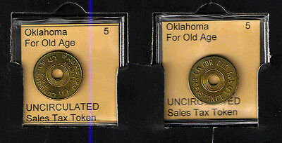 OKLAHOMA 5 Brass OLD AGE TAX TOKEN RECEIPT    BRILLIANT UNCIRCULATED