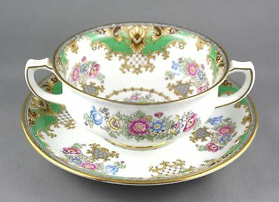 "Shelley "" Sheraton "" 13290 Handled China Soup Bowl & Saucer"