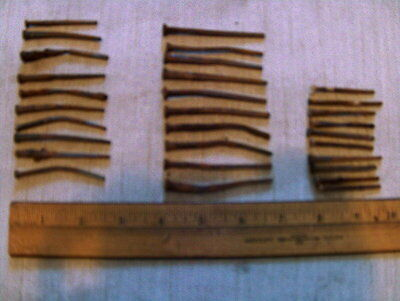 """30 NAILS used rusty old antique 1 3/4""""  to 2 3/4 """" long from 1840's Maine home"""