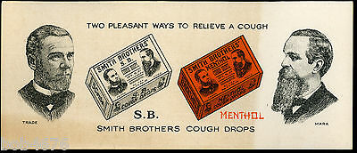 "ANTIQUE ADVERTISING BLOTTER  SMITH BROTHERS COUGH DROPS 8.5"" x 3.5"""