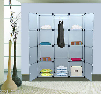 Portable Modular Storage Clothes Closet Organizer w/ 8 Enclosed Cube Shelves