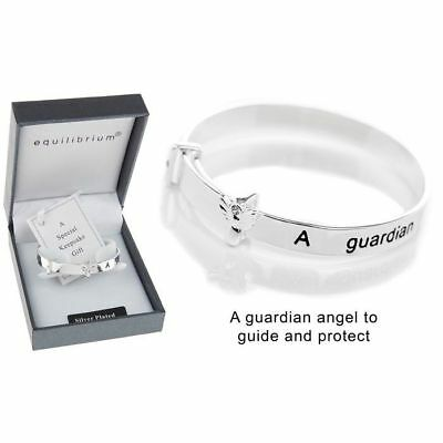 Equilibrium Silver Plated Guardian Angel Baby Bangle Christening Gift 54470