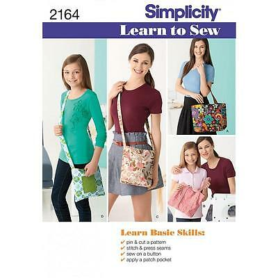 Simplicity Sewing Pattern Learn To Sew Bags  2164