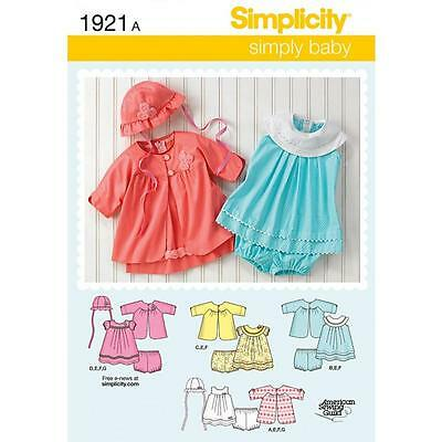 Simplicity Sewing Pattern Babies Dress Panties Coat & Hat Sizes Xxs - L  1921