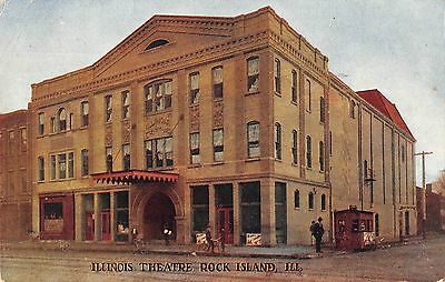 Rock Island Illinois Illinois Theatre Exterior View Antique Postcard V20450