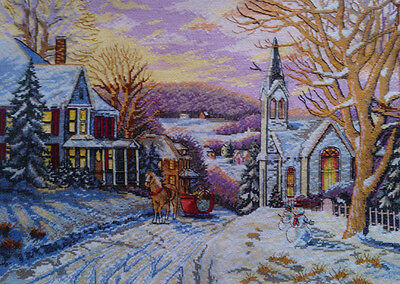 New Finished Completed Cross Stitch - Winter dusk -