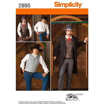 SIMPLICITY SEWING PATTERN Men Costumes  Men's Frock Coat Shirt & Vest 38-52 2895