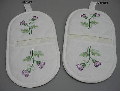 6PR Scottish Thistle Embroidered Quilted Padded Kitchen Dining Micro Mitts C300