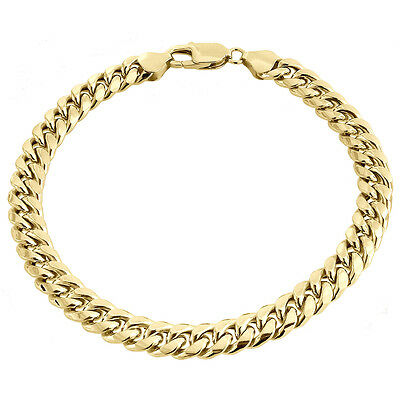 "Mens 1/20th 10k Yellow Gold Hollow Miami Cuban Bracelet 7.50mm Handmade 8"" & 9"""