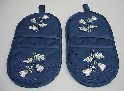 6PR Scottish Thistle Embroidered Quilted Padded Kitchen Dining Micro Mitts C310