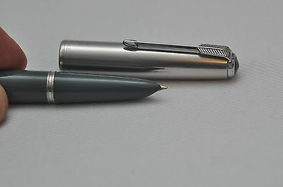 Lovely Vintage Parker Number 51 Fountain Pen - Grey With Steel Cap - Made In USA