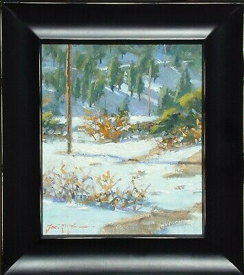 "Frank LaLumia ""Down to the Meadow"" Original Oil Painting landscape winter snow"