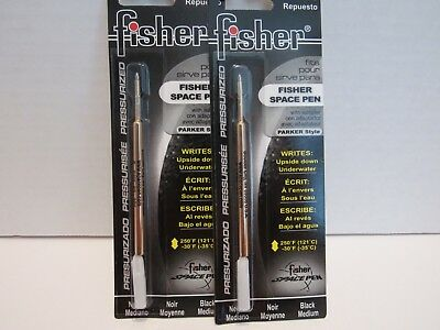 2 Parker Pen Pressurized Ballpoint Refill Medium Black-Fsr