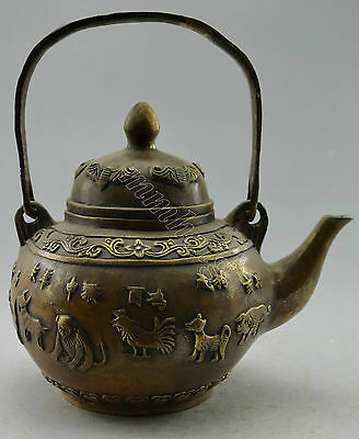 Collectible Decorated Old Handwork Copper Carved 12 Zodiac Tea Pot