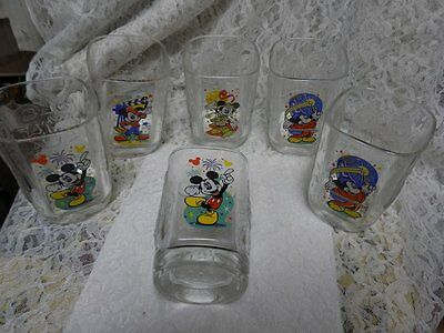 COLLECTIBLE DISNEY GLASSES~TUMBLERS~YEAR 2000~6 GLASSES~SQUARE~MICKEY MOUSE