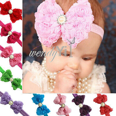 10pcs Kids Girls Baby Toddler Wedding Flower Headband Hair Bow Band Accessories