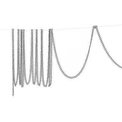 10M Silver Tone Links-Opened Curb Chains For Necklace Carfts 2mm x1.5mm