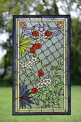 """20"""" x 34"""" Lg Decorative Handcrafted Jeweled stained glass window panel flower"""