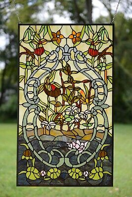 """20"""" x 34"""" Decorative Handcrafted stained glass window panel water lily Lotus"""