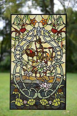 "20"" x 34"" Decorative Tiffany Style stained glass window panel water lily Lotus"
