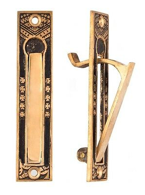 Oriental pattern edge pull for pocket doors cast bronze