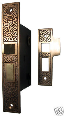 Rice pattern mortise lock and strike plate