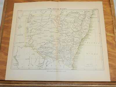 1883 Antique COLOR Map/NEW SOUTH WALES, AUSTRALIA