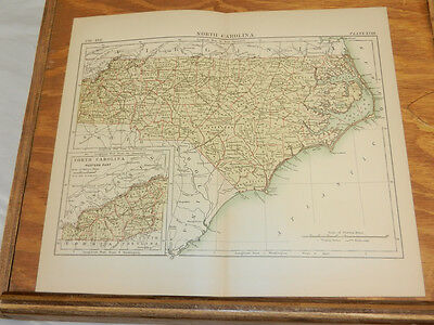 1883 Antique COLOR Map/NORTH CAROLINA