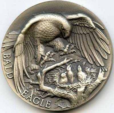 Bald Eagle sterling silver medal in high relief by Wittnauer/Longines