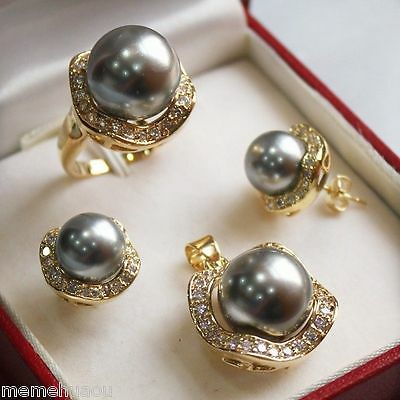 Set 10mm &14mm gray South sea Shell Pearl Earrings Necklace Ring size 7 8 9#