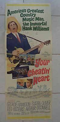 YOUR CHEATIN' HEART 1964 US INSERT POSTER 36x14 HANK WILLIAMS STORY