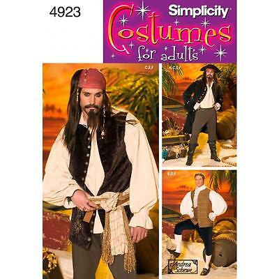 Simplicity Sewing Pattern Mens Costumes For Adults Pirates Sizes Xs - Xl 4923