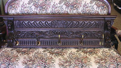 Ornate Gothic LARGE Dark wood & brass Wall Shelf Coat/ hat Rack lion heads