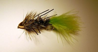 Conehead Krystal Rubber leg Woolly Bugger Black/Chartreuse tail size  #6