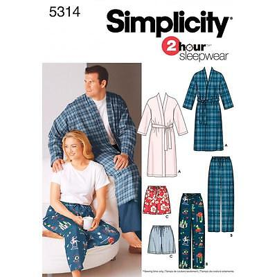 SIMPLICITY SEWING PATTERN Plus Size Women Men PYJAMAS  S-XXXL 5314 A
