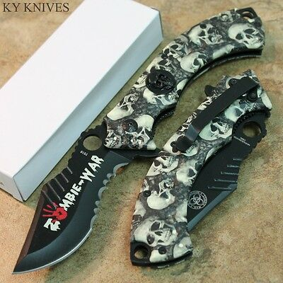 "8"" ZOMBIE WAR Gray Skull Tactical Spring Assisted Open Pocket Knife 7516 zix"