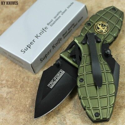 "6"" Green RANGER Tactical Assisted Open Pocket Knife Bullet Knife TF-503SWG zix"